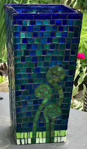 "Fiddlehead Vase;4.5"" x 4.5"" x 9"", tapered; stained glass on glass;  $150.00"
