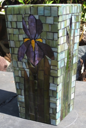 "Iris Vase; stained glass on glass; 4.5"" x 4.5"" x 9"", tapered; $150.00"