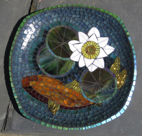 "Pond Platter; stained glass on ceramic; 11.25"" rounded square; $250.00"