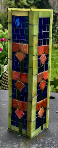 "Jugendstil Vase; 2"" x 2"" x 8""; stained glass on glass;  $60.00"