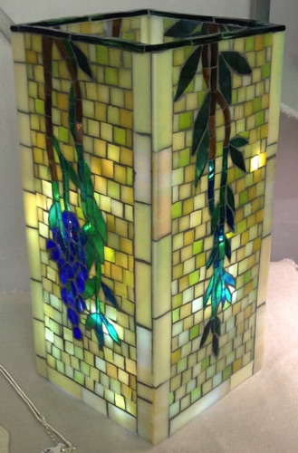 "WisteriaVase; 4.5"" x 4.5"" x 9.5""; stained glass on glass;  $300.00"