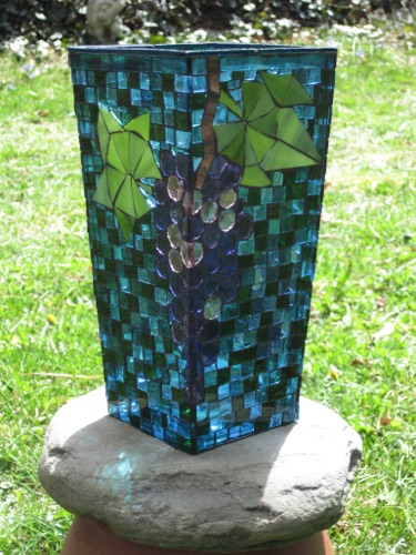 "Grapes Vase; 4.5"" x 4.5"" x 9"", tapered; stained glass on glass; $175.00"