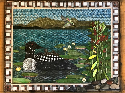"Loon Family; 24"" x 30""; natural stone, stained glass, marble; kitchen wall inset, private home"