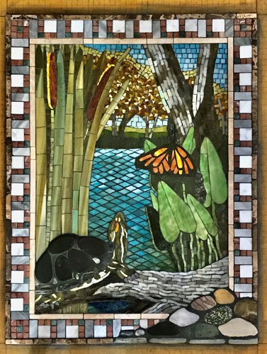 "Turtle and Monarch; 18"" x 24""; natural stone, stained glass, marble; kitchen wall inset, private home"