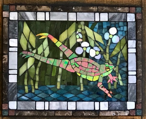 "Leaping Frog; 8"" x 10""; stained glass, marble; kitchen wall inset, private home"