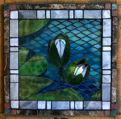 "Lily Buds; 8"" x 8""; stained glass, marble; kitchen wall inset, private home"