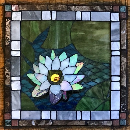 "Open Lily; 8"" x 8""; stained glass, marble; kitchen wall inset, private home"