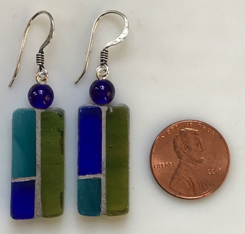 Stained glass and glass with silver wires. $25.00