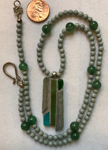 "Natural stone and stained glass pendant, 1 3/4"" x 1/2"", with feldspar and jade bead necklace, 22"" $45"