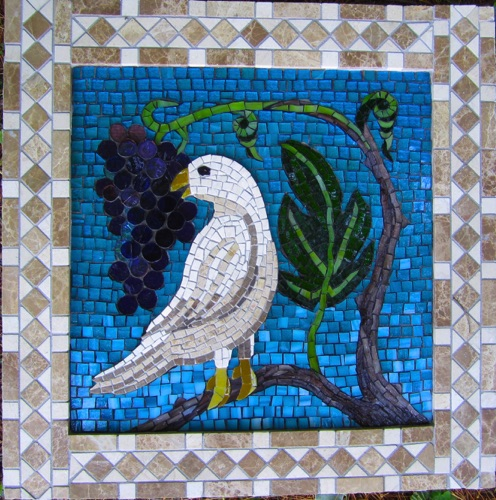 "Dove and Grapes; 18"" x 18""; marble, stained glass,; $800.00"