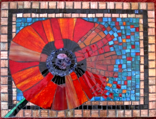 "The Green Fuse;12"" x 16""; stained glass, glass tile; $500.00"