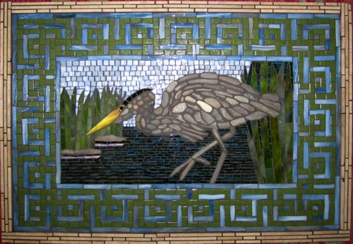 "Hunting Heron; 18"" x 26""; natural stone, stained glass, marble; $2000.00"