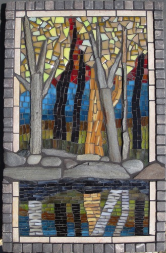 "Kennebec;16"" x 10.5""; natural stone, stained glass, marble; $600.00"