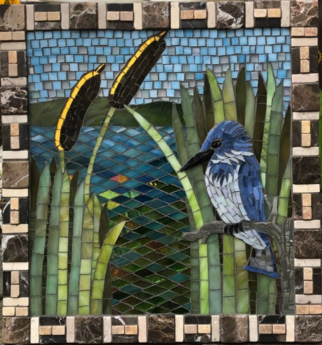 "Perching Kingfisher; 14"" x 15""; stained glass, marble; $800.00"