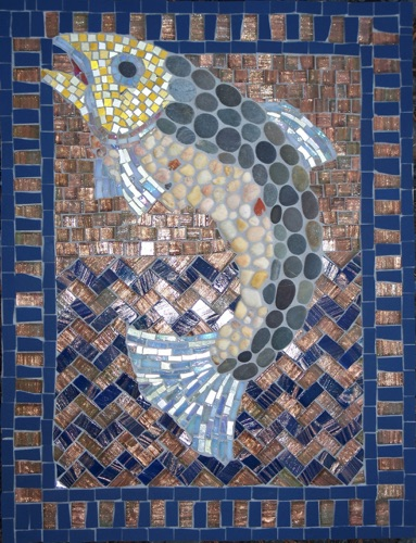 "Leaping Trout; 12"" x 16""; natural stone, stained glass; $700.00"
