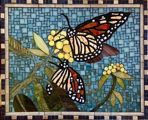 "Monarchs; 14"" x 17""; stained glass, marble; $800.00"