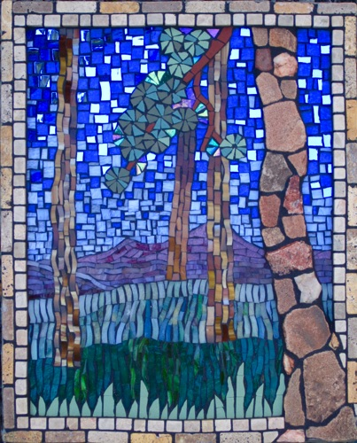 "Range View; 12"" x 16""; natural stone, stained glass, porcelain, marble; $600.00"